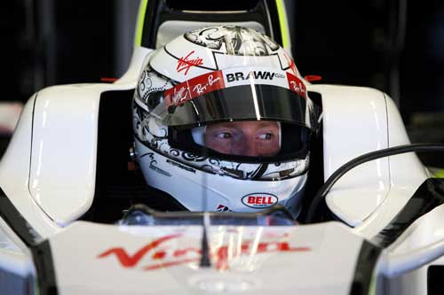 Mike Conway in the cockpit of last year's Brawn at Jerez