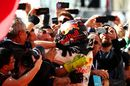 Max Verstappen celebrates in parc ferme with the team