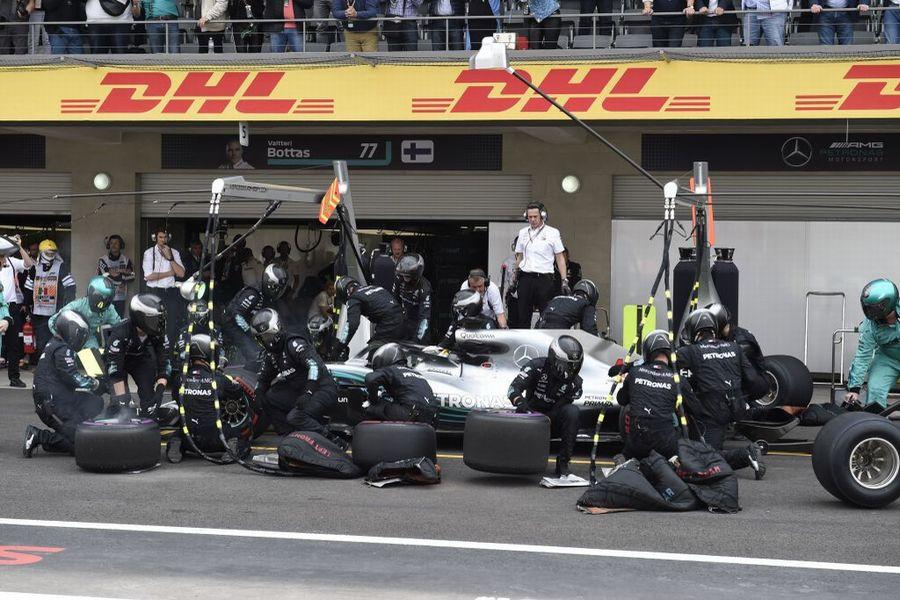 Lewis Hamilton takes a pit stop