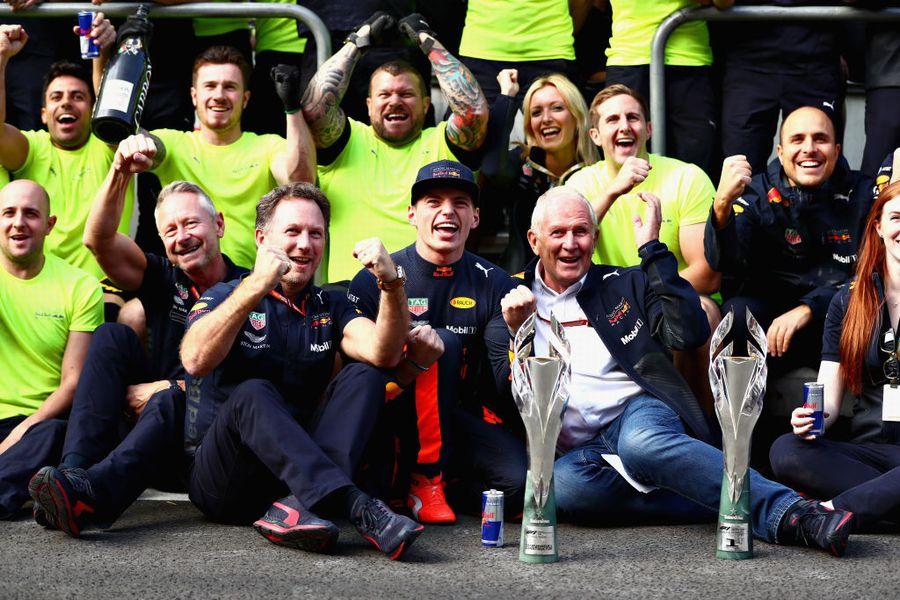 Race winner Max Verstappen celebrates with his team