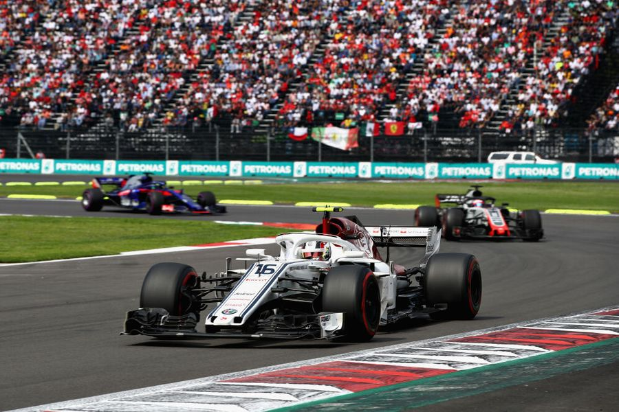 Charles Leclerc on track in the Sauber