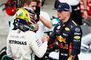 Race winner Lewis Hamilton congratulated by Max Verstappen in parc ferme