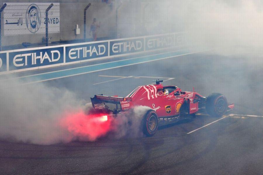 Sebastian Vettel performing donuts