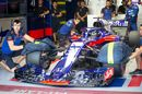 Daniil Kvyat leave the garage