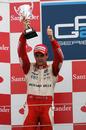 Pastor Maldonado celebrates victory at Silverstone