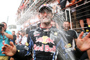 Mark Webber celebrates with his Red Bull team