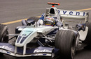 Juan Pablo Montoya crosses the line to take Williams first win of the season