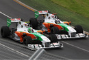 Tonio Liuzzi and Adrain Sutil go wheel-to-wheel, Australian Grand Prix, Melbourne, March 28, 2010