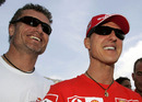 David Coulthard and Michael Schumacher smile for the cameras