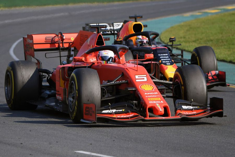 Sebastian Vettel and Max Verstappen battle for position