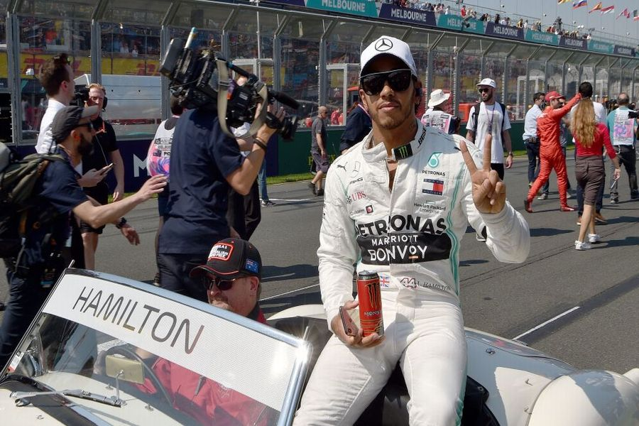 Lewis Hamilton on the drivers parade
