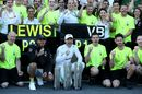 Race winner Valtteri Bottas and Lewis Hamilton celebrates with the team