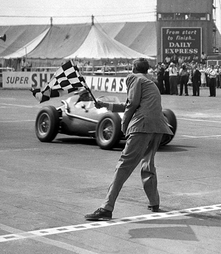 Peter Collins wins the 1958 British Grand Prix