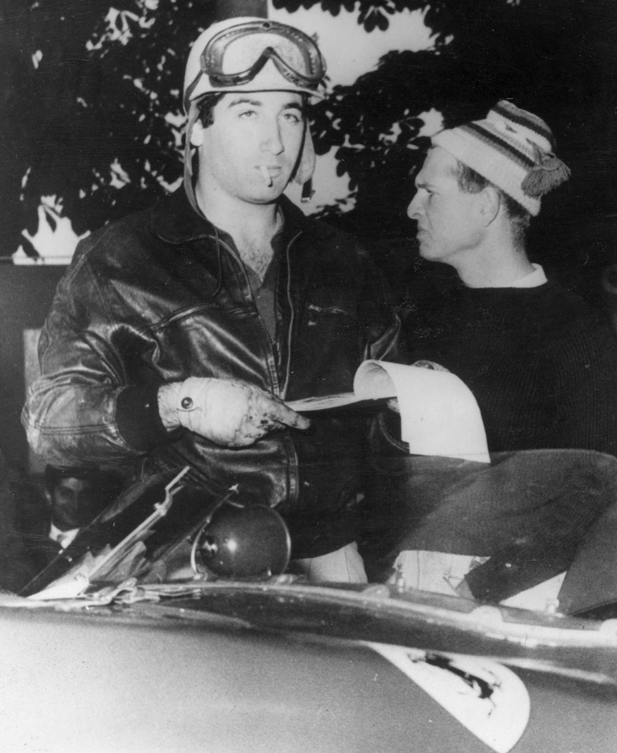 Marquis de Portago and Peter Collins before the start of the Mille Miglia
