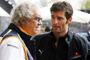 Mark Webber talks to his manager Flavio Briatore