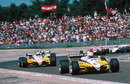 Rene Arnoux leads team mate Alain Prost on the opening lap of the Swiss GP