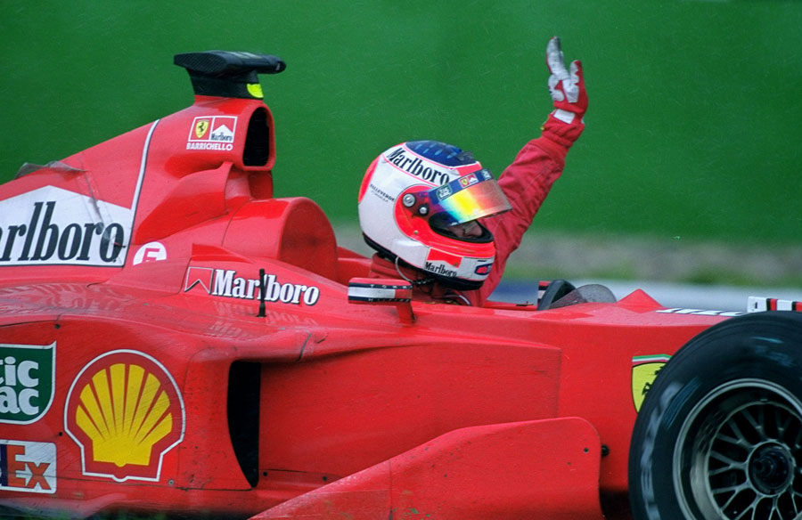 Rubens Barrichello celebrates winning his first grand prix at Hockenheim in 2000