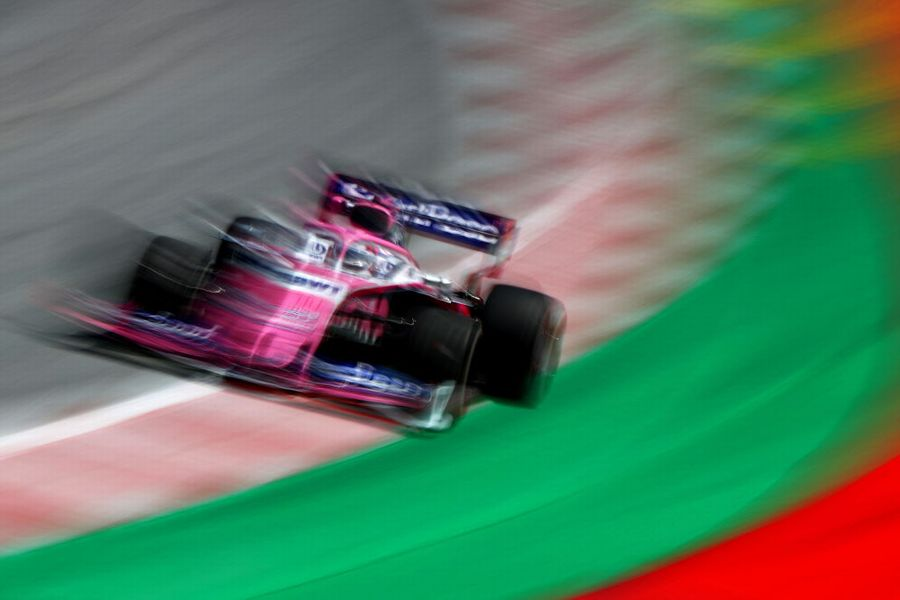 Sergio Perez on track in the Racing Point