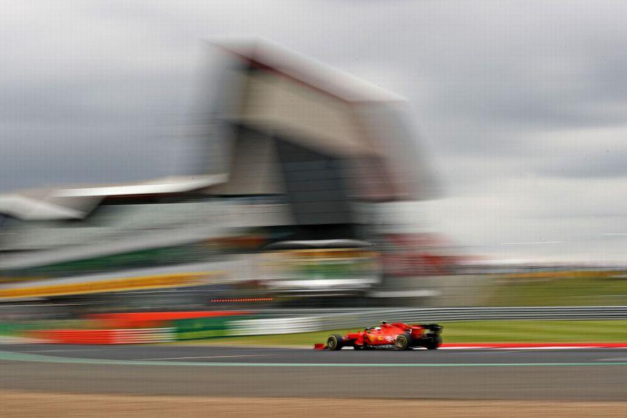 Charles Leclerc on track in the Ferrari
