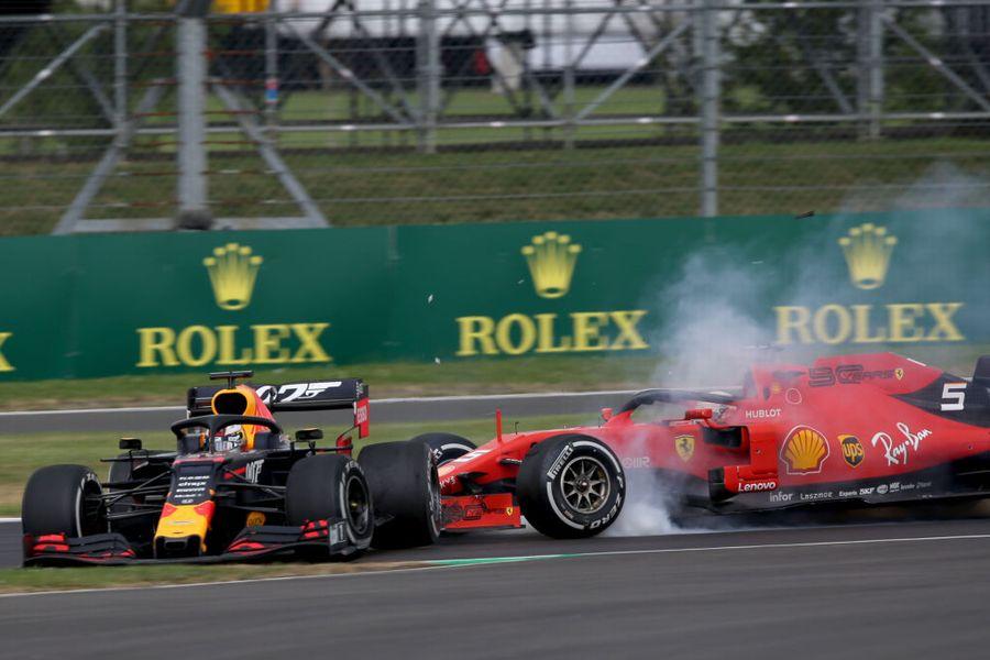 Max Verstappen and Sebastian Vettel crash