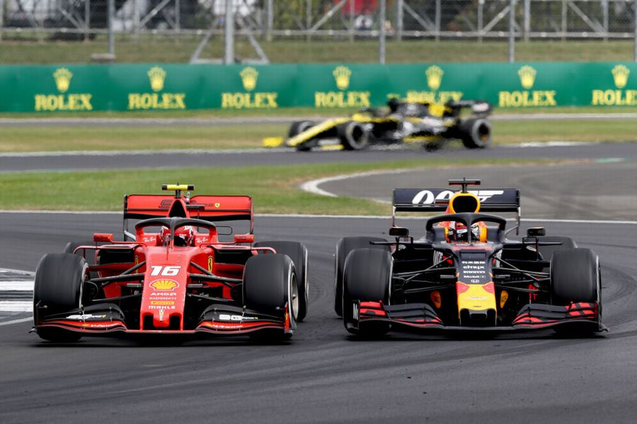 Charles Leclerc and Max Verstappen battle for position