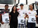 HRT drivers Karun Chandhok, Bruno Senna and Sakon Yamamoto receive trucking diplomas