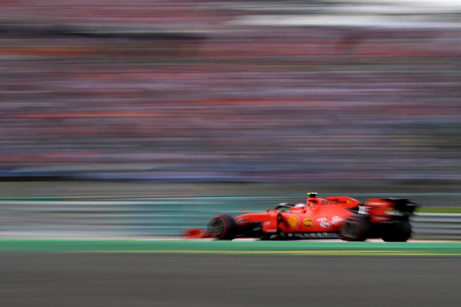 Charles Leclerc on track in the Ferrari