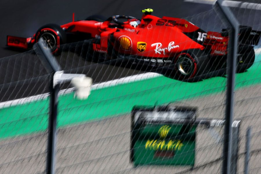 Charles Leclerc spins on track in the Ferrari