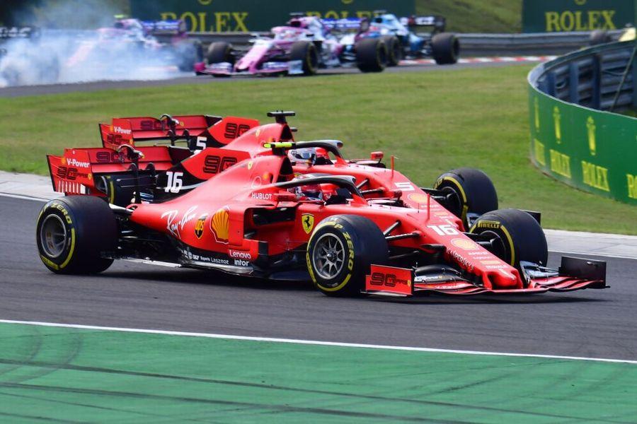 Charles Leclerc anf Sebastian Vettel battle for position