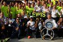 Race winner Lewis Hamilton celebrates with his team