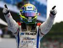 Sergio Perez celebrates winning the GP2 sprint race