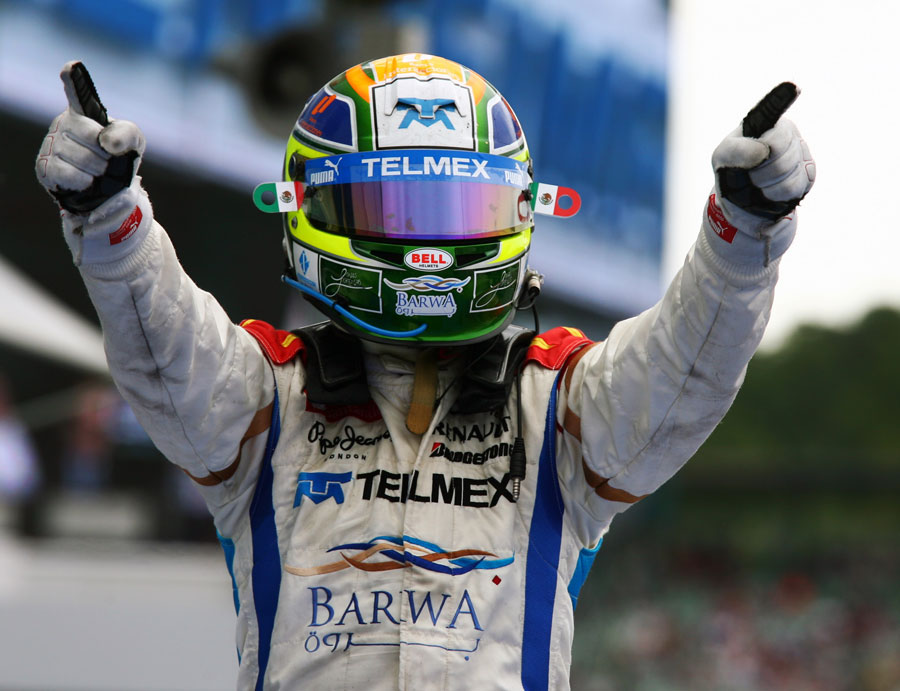Sergio Perez celebrates winning the GP2 sprint race