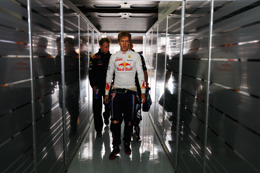 Sebastian Vettel prepares for action before the start of the race