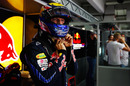Mark Webber prepares for action before the start of the race
