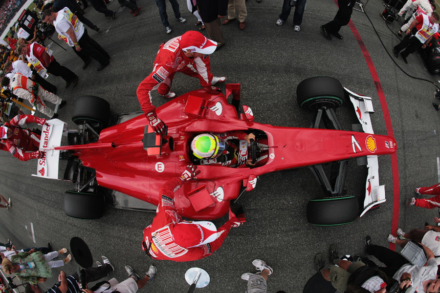 Felipe Massa prepares on the grid