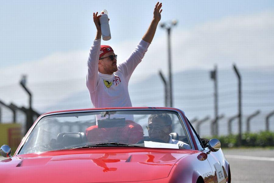 Sebastian Vettel on the drivers parade