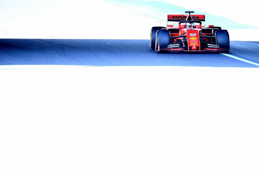 Sebastian Vettel on track in the Ferrari