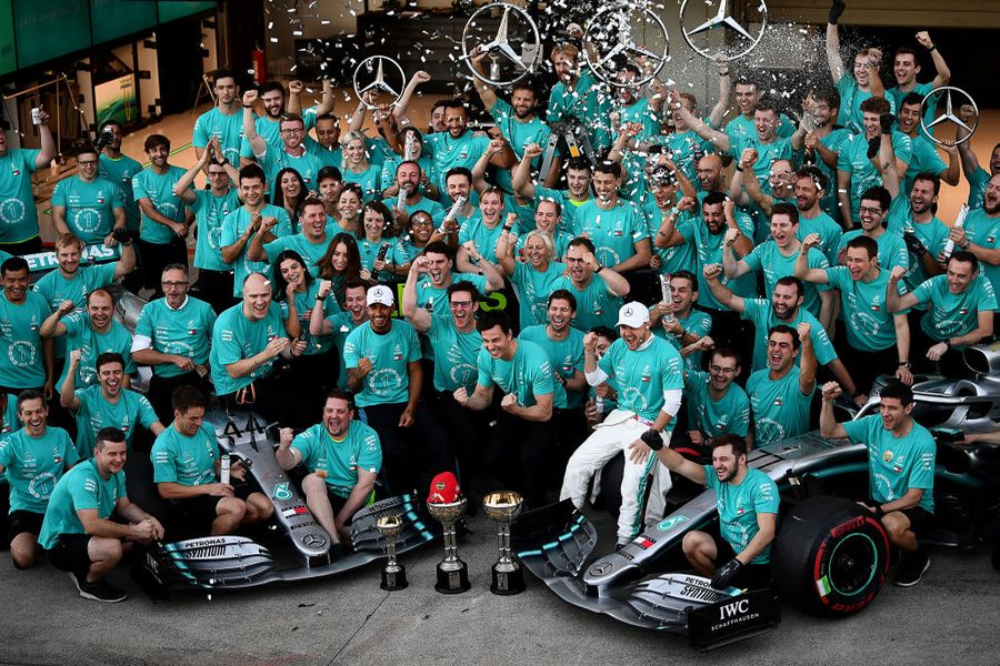 Mercedes celebrate winning the constructors championship