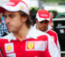 Felipe Massa and Fernando Alonso in the paddock after the race