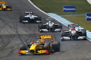 Robert Kubica leads Michael Schumacher, Nico Rosberg, Rubens Barrichello and Vitaly Petrov
