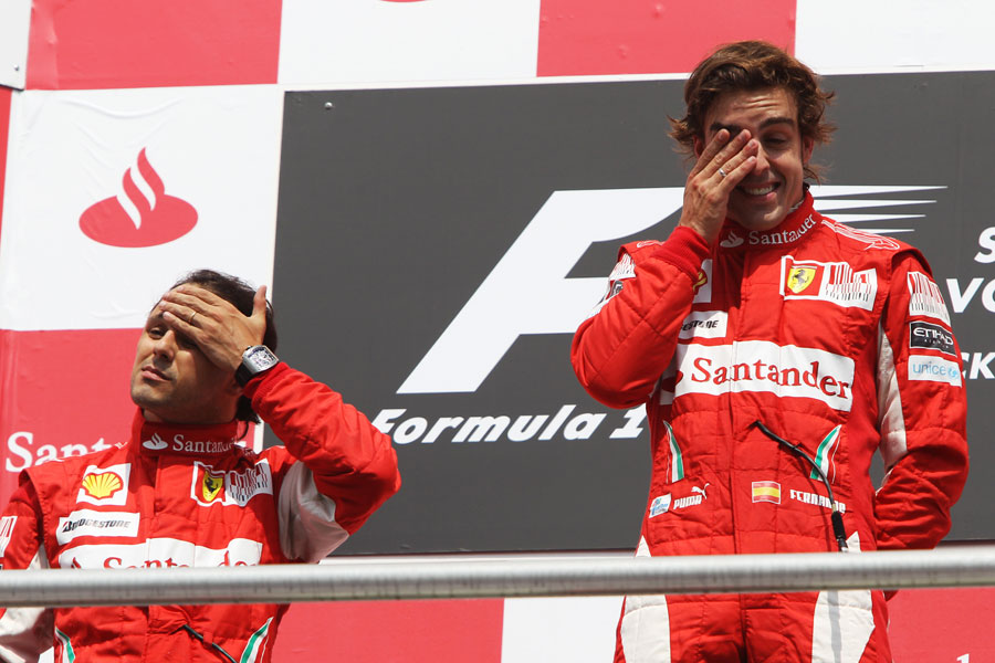 Felipe Massa and Fernando Alonso on the podium