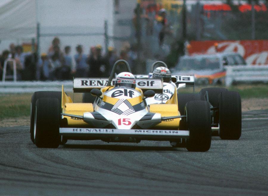 Alain Prost leads Alan Jones