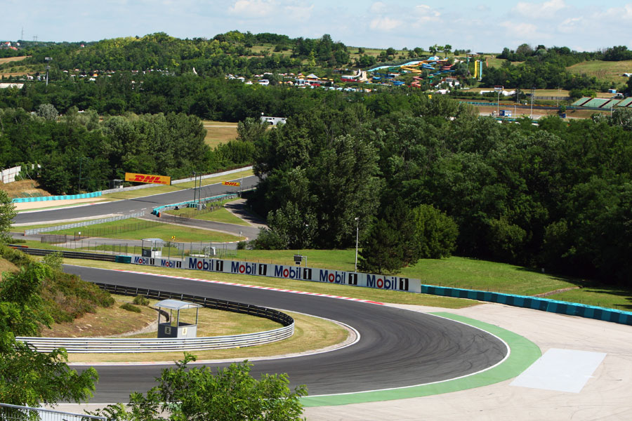 A view of turn 2 at the Hungaroring