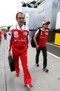 Stefano Domenicali plays the PR card by arriving with Felipe Massa