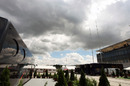 Clouds loom over the Hungaroring paddock