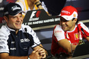 Brazilians Rubens Barrichello and Felipe Massa in Thursday's press conference