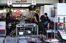 Haas F1 work in the garage