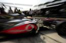 Lewis Hamilton in the pit lane