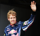 Sebastian Vettel celebrates taking pole position in Hungary