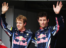 Sebastian Vettel and Mark Webber after qualifying